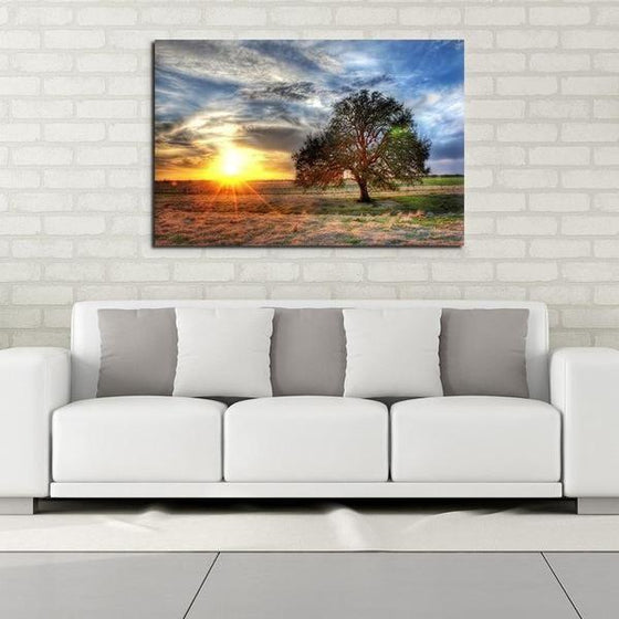 Sunrise And A Solitary Tree Wall Art Decor