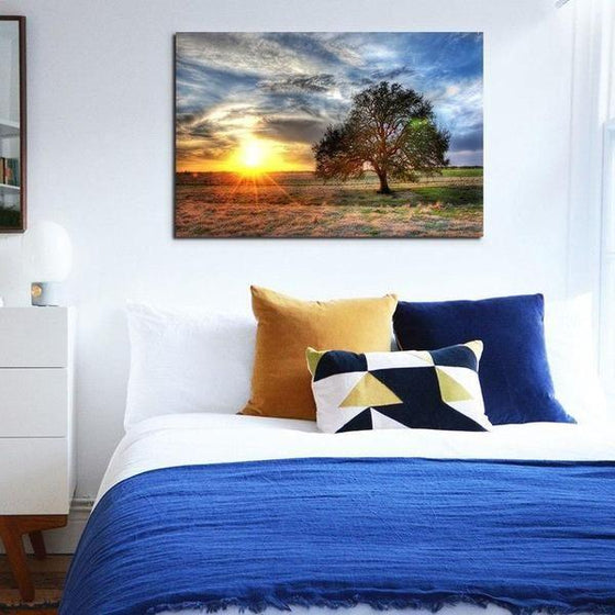 Sunrise And A Solitary Tree Wall Art Ideas