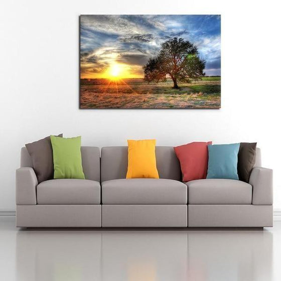 Sunrise And A Solitary Tree Wall Art Print