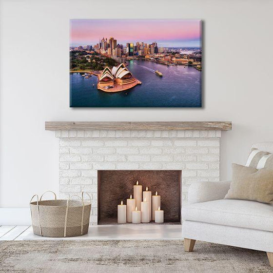 Sunrise & Sydney Harbour Canvas Wall Art Living Room