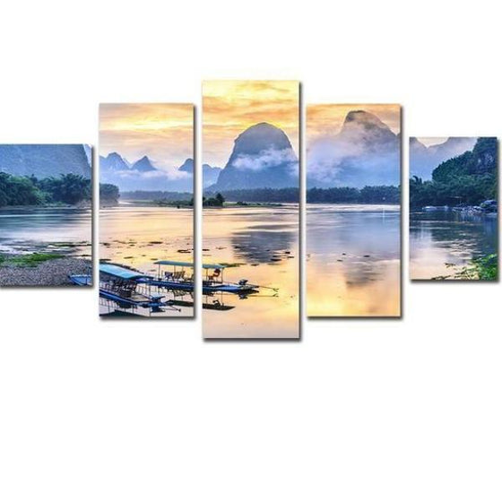 Boats In The Sea Canvas Wall Art