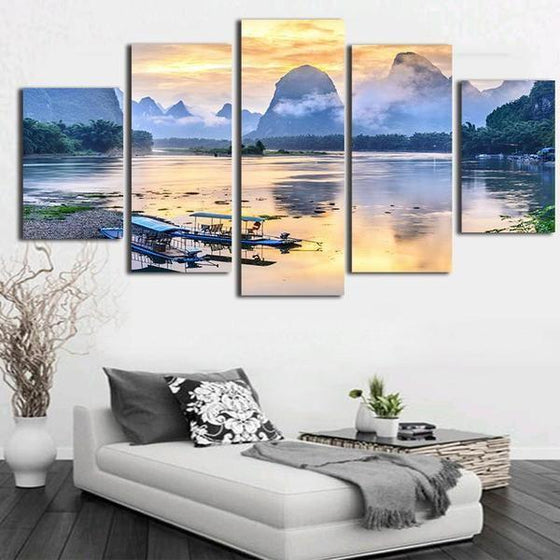 Boats In The Sea Canvas Wall Art Bedroom