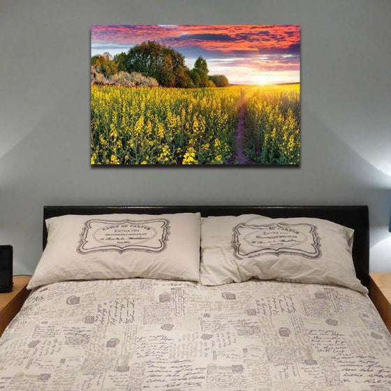Sunrise In A Field Of Flowers Wall Art Bedroom