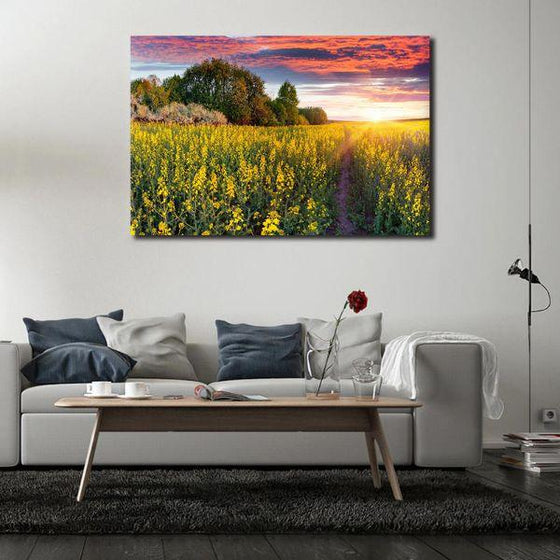 Sunrise In A Field Of Flowers Wall Art Canvas
