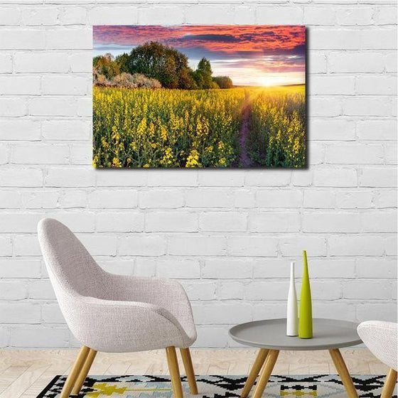 Sunrise In A Field Of Flowers Wall Art Decor