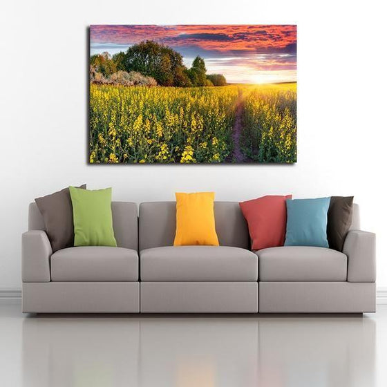 Sunrise In A Field Of Flowers Wall Art Living Room