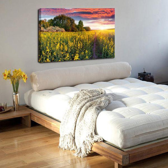 Sunrise In A Field Of Flowers Wall Art Print