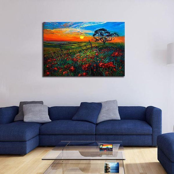 Sunrise Over Red Poppies Wall Art Canvas