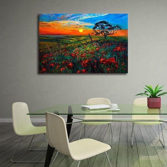 Sunrise Over Red Poppies Wall Art Dining Room