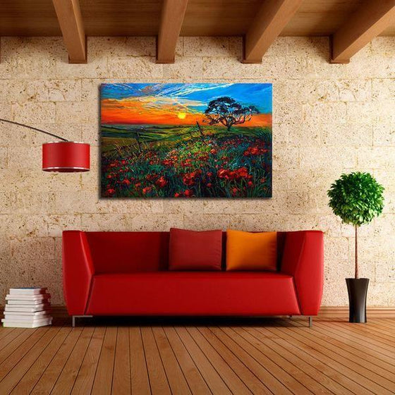 Sunrise Over Red Poppies Wall Art Living Room