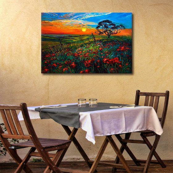 Sunrise Over Red Poppies Wall Art Print