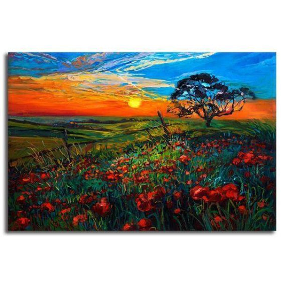 Sunrise Over Red Poppies Wall Art