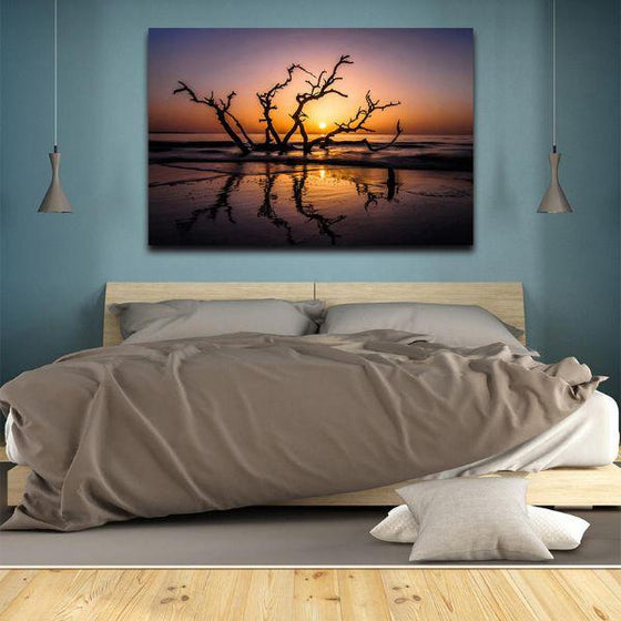 Sunrise With Tree Branches Wall Art Bedroom