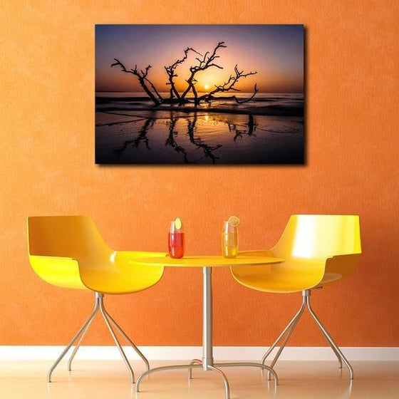 Sunrise With Tree Branches Wall Art Decor