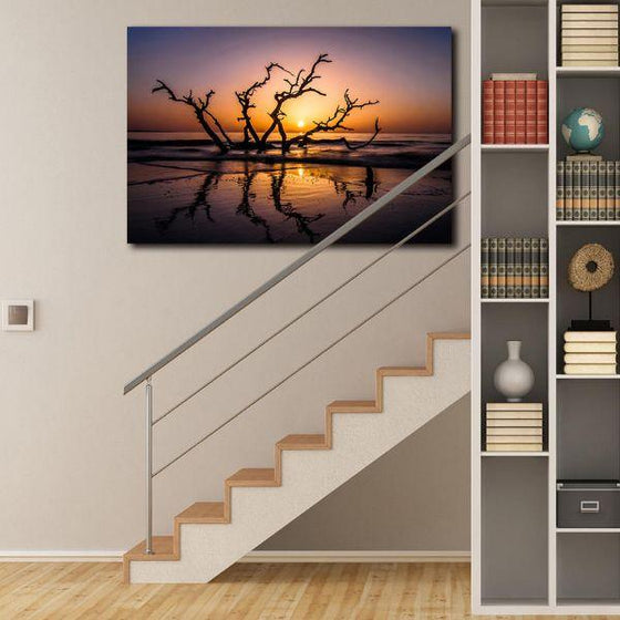 Sunrise With Tree Branches Wall Art Decors