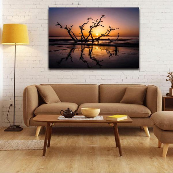 Sunrise With Tree Branches Wall Art Living Room