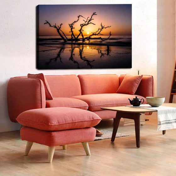 Sunrise With Tree Branches Wall Art Print