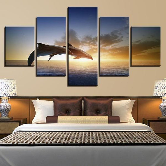Sunset & Dolphins Canvas Bedroom Wall Art