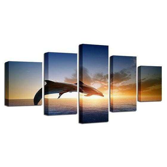 Sunset & Dolphins Canvas Five Panel Wall Art
