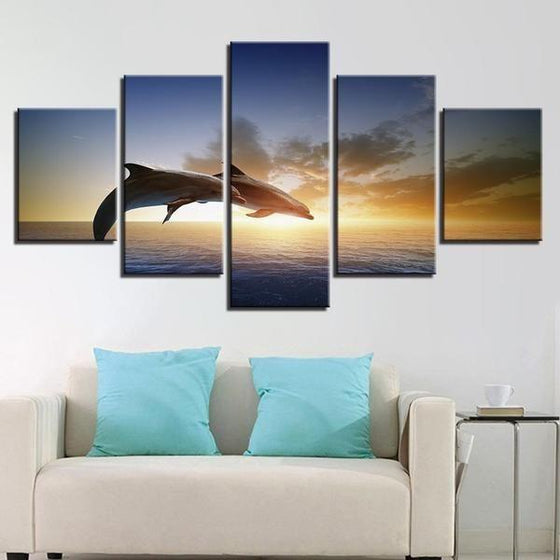 Sunset & Dolphins Canvas Living Room Wall Art