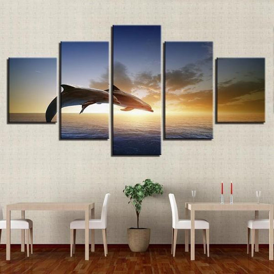 Sunset & Dolphins Canvas Nature Wall Art