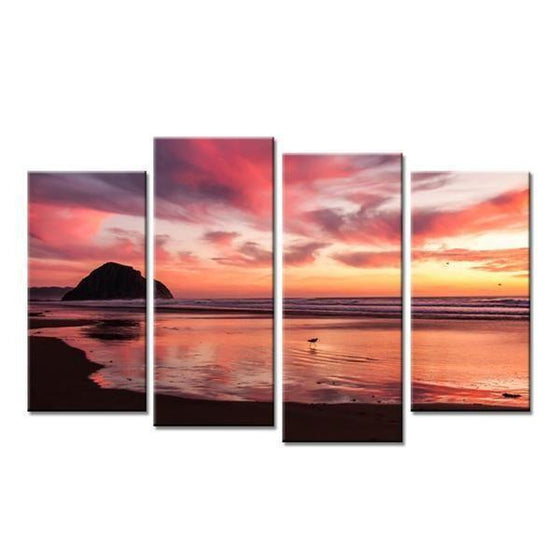 Sunset & Low Tide Beach View Canvas Wall Art