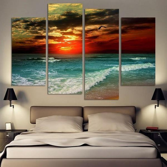 Sunset And Beach Waves Canvas Wall Art Decor