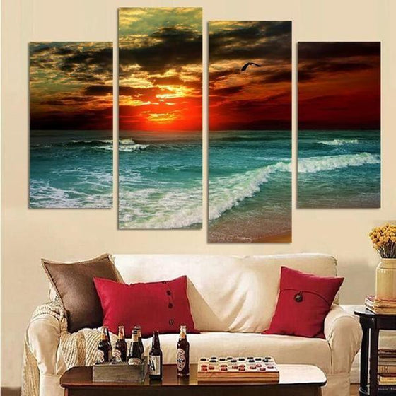 Sunset And Beach Waves Canvas Wall Art Print