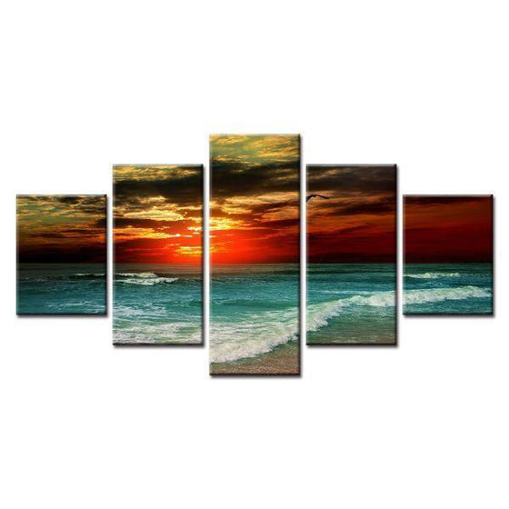 Sunset And Beach Waves Canvas Wall Art
