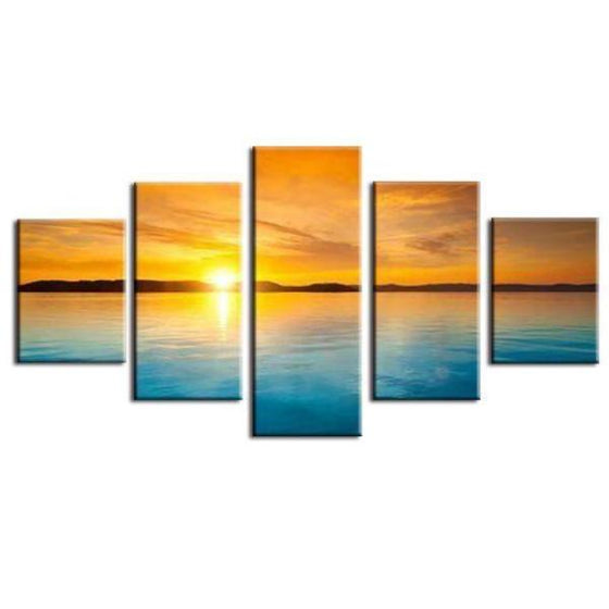 Sunset And Blue Sea Canvas Wall Art