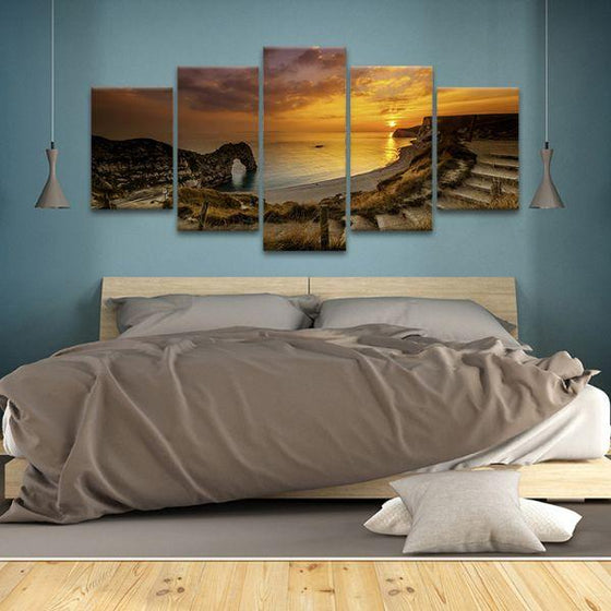 Sunset At Durdle Door 5 Panels Canvas Wall Art Bedroom