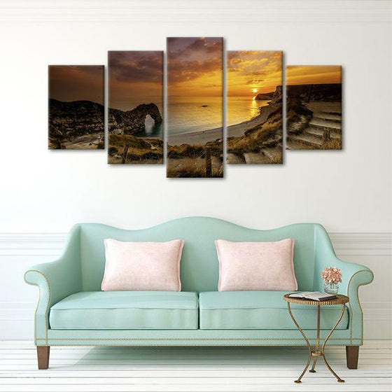 Sunset At Durdle Door 5 Panels Canvas Wall Art Decor