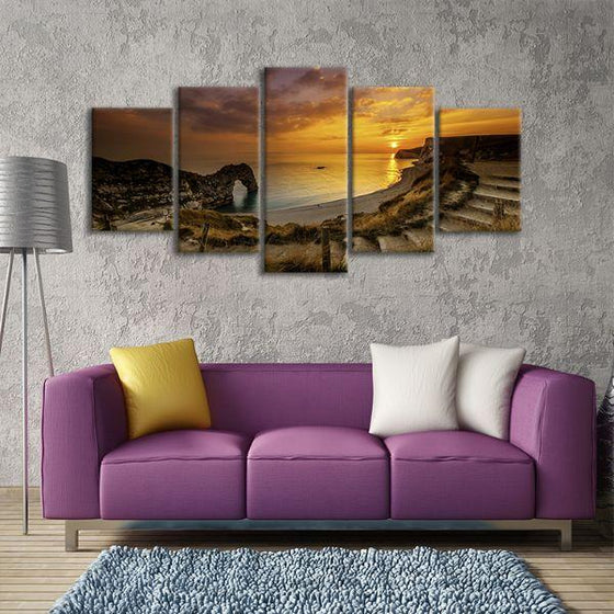 Sunset At Durdle Door 5 Panels Canvas Wall Art Living Room