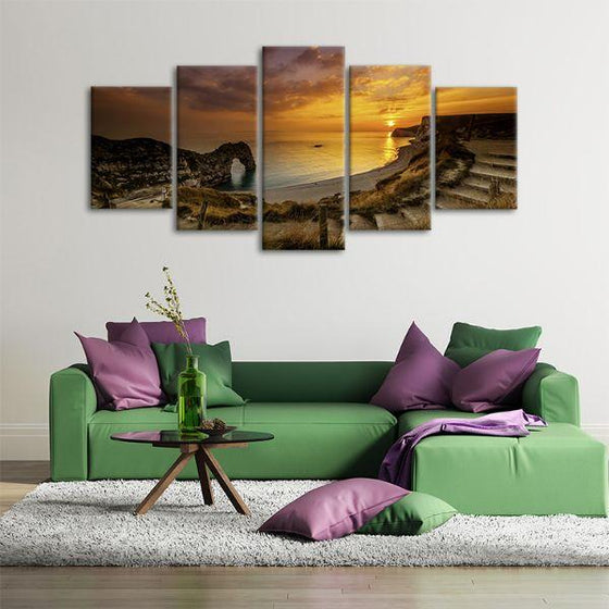 Sunset At Durdle Door 5 Panels Canvas Wall Art Office