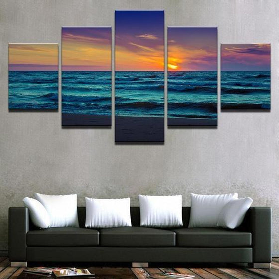 Alluring Beach Sunset Canvas Wall Art