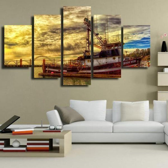 Boat & Cloudy Sunset Sky Canvas Wall Art  Living Room