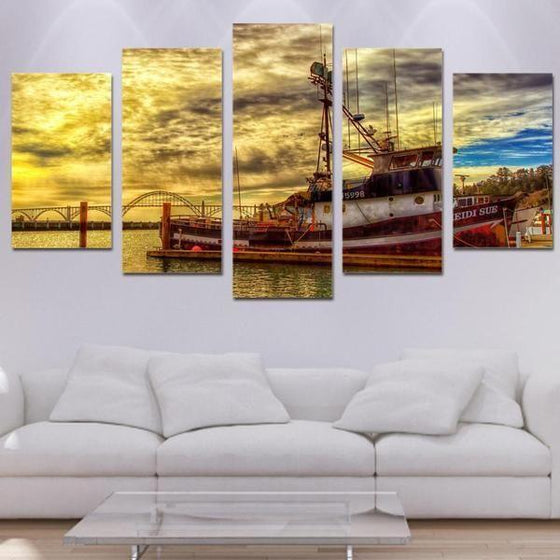 Boat & Cloudy Sunset Sky Canvas Wall Art  Living Room Ideas