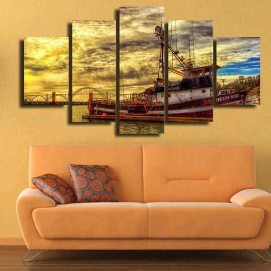 Boat & Cloudy Sunset Sky Canvas Wall Art Living Room Decor