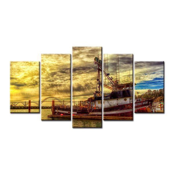 Boat & Cloudy Sunset Sky Canvas Wall Art Prints
