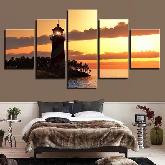 Sunset Lighthouse Canvas Bed Room Wall Art
