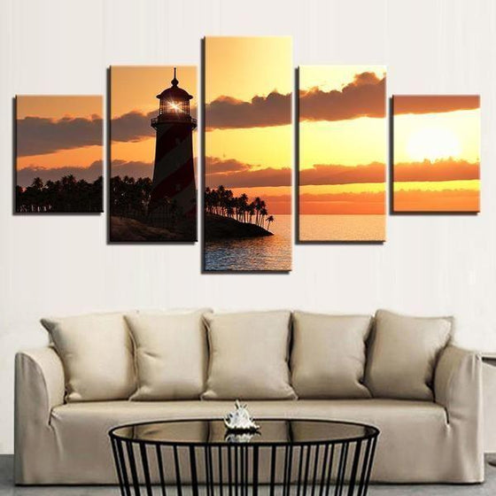 Sunset Lighthouse Canvas Office Wall Art