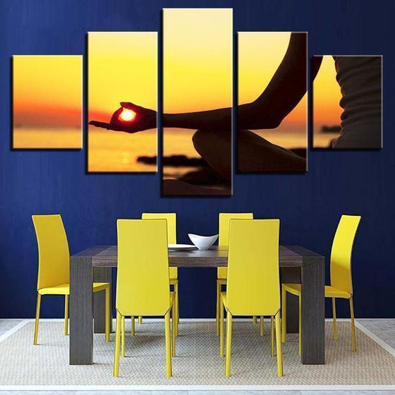 Sunset Meditation Canvas Dining Room Wall Art