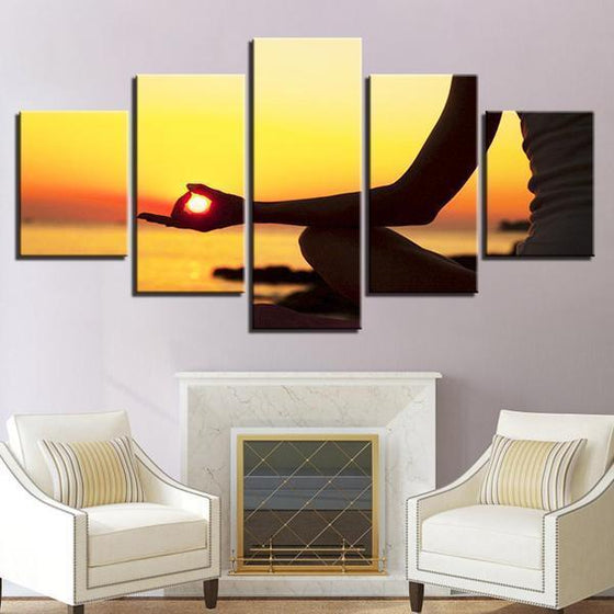 Sunset Meditation Canvas Office Wall Art