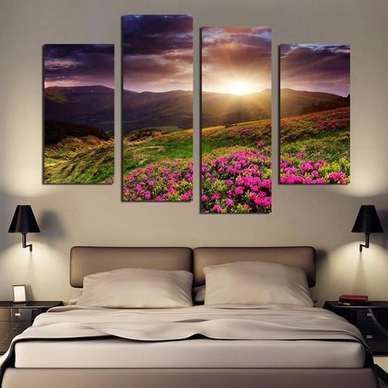 Flower Field Sunset Canvas Wall Art Bedroom