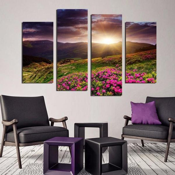 Flower Field Sunset Canvas Wall Art Home Decor