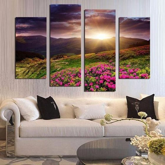 Flower Field Sunset Canvas Wall Art Decor
