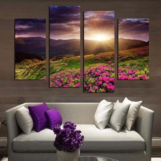 Flower Field Sunset Canvas Wall Art Living Room