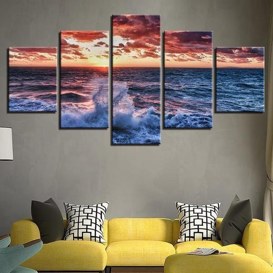 Beach Waves & Red Sunset Canvas Wall Art Living Room