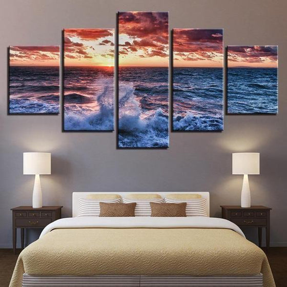 Beach Waves & Red Sunset Canvas Wall Art Bedroom