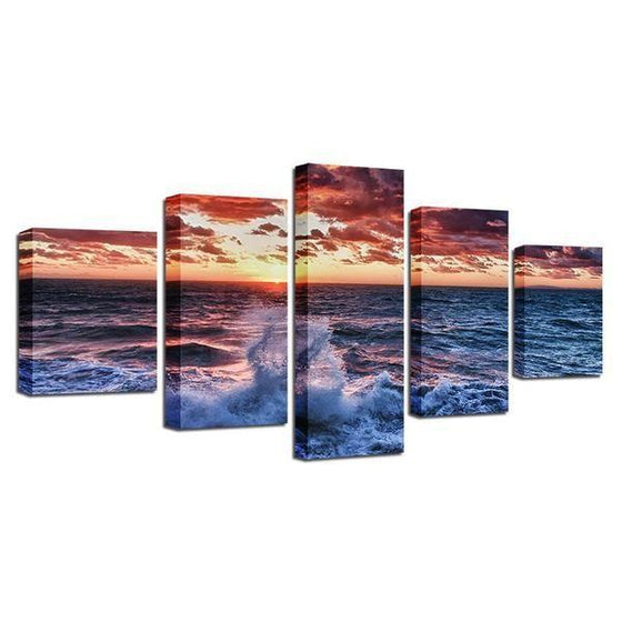 Beach Waves & Red Sunset Canvas Wall Art Prints